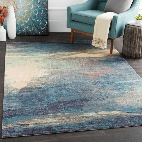 Rachel Blue Abstract Area Rug - 5' x 7'6'