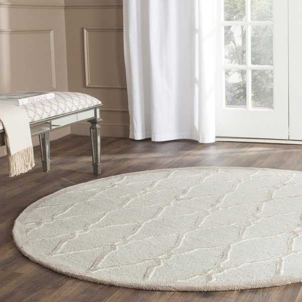 Hand-Tufted Safavieh Cambridge Light Grey/ Ivory Wool Rug - 8' x 8' Round