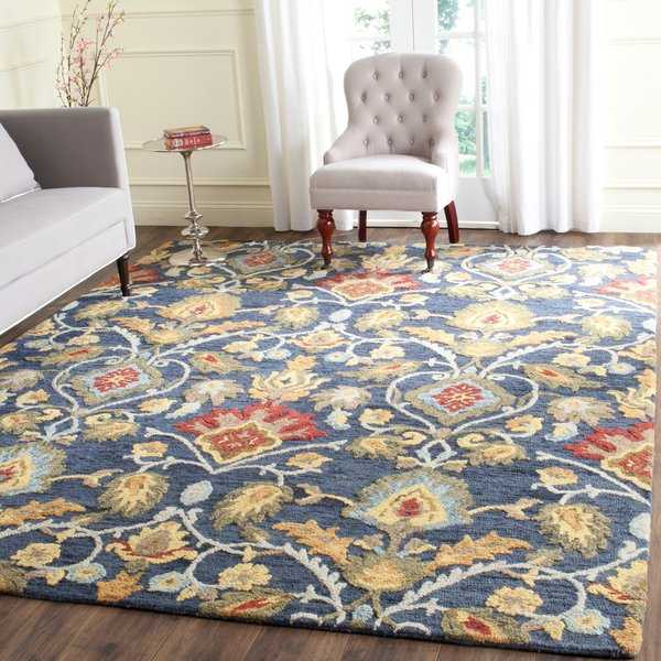 Safavieh Handmade Blossom Navy / Multicolored Wool Rug - 8'9' x 12'