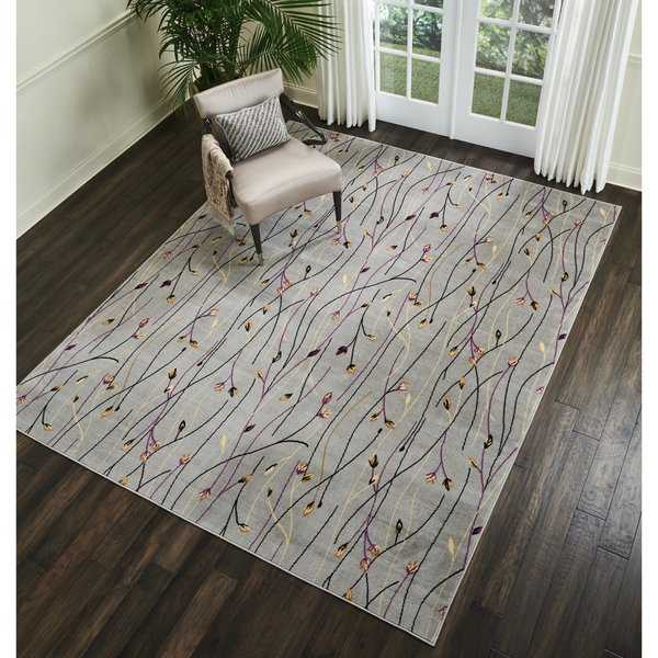 Nourison Grafix Floral Vines Grey Area Rug - 5'3 X 7'3